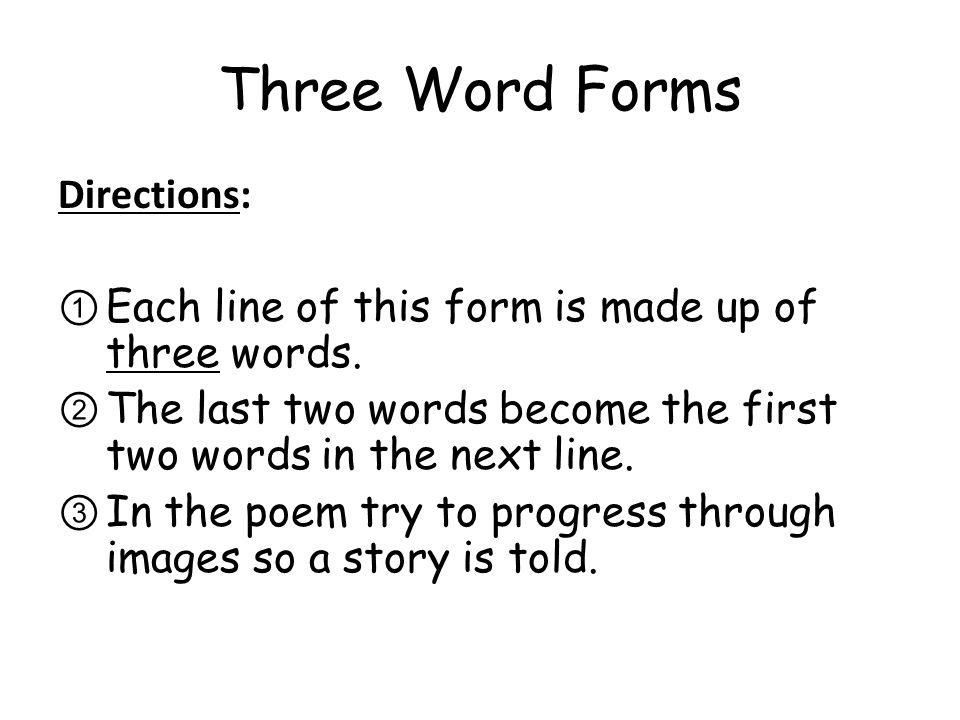 Three Word Forms poem